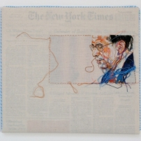 28AUG07 2007 Hand-embroidery on cotton muslin upholstered around the August 28, 2007 edition of The New York Times 12.5 x 12 (Alberto Gonzalez)