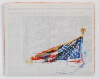 3JAN07 2007 Hand-embroidery on cotton muslin upholstered around the January 3, 2007 edition of The New York Times 13.75 x 11.5 (Gerald Ford's Funeral)