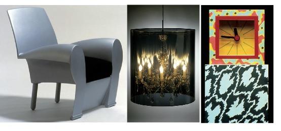 Philippe Starck, Richard III // Jurgen Bey, Light Shade Shade // Nathalie du Pasquier, Pendule et Tapis Riviera