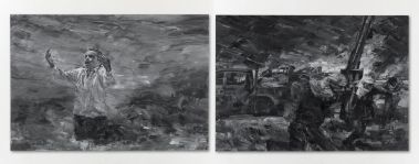 Help 2011 diptych, oil on canvas 280 x 400 cm (110.24 x 157.48 in), Yan Pei-Ming