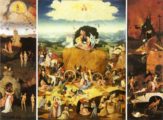 Triptyque du chariot de foin, J. Bosch, huile sur toile, c. 1490, Prado
