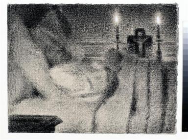 Anaïs Faivre Haumonté sur son lit de mort, Georges Seurat, Photo (C) Musée d'Orsay, Dist. RMN-Grand Palais / Sophie Boegly