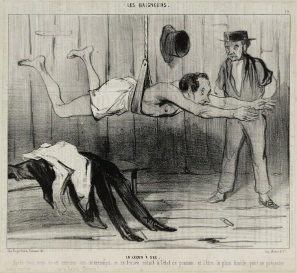La Leçon à sec, lithographie, Honoré Daumier, Le Charivari 30-31 mai 1841, Paris, Maison de Balzac. © Maison de Balzac / Roger-Viollet.