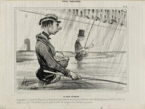 Le Vieux pêcheur, lithographie, Honoré Daumier, Le Charivari 10 juillet 1841, Paris, Maison de Balzac. © Maison de Balzac / Roger-Viollet.