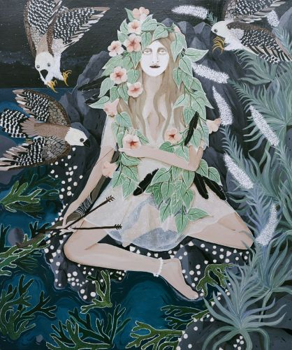Leah Fraser, She was no naturalist, she was more the archer. Acrylic on polyester canvas, 122 x 120 cm. Courtesy Arthouse gallery.