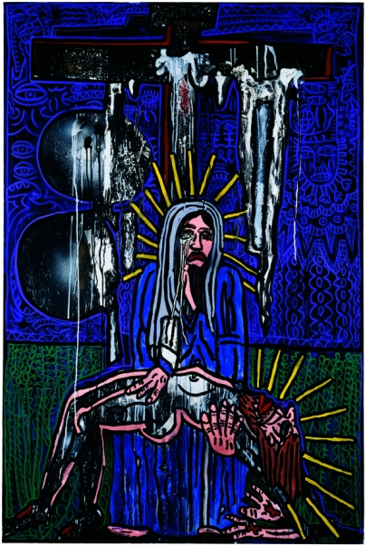 Chemin de croix Combas/Kijno – station XIII Jésus est déposé de la croix et remis à sa mère – 195×130 2003-2005