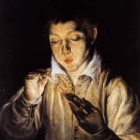 Jeune garçon soufflant sur un tesson, El Greco, Musée Capodimonte, Naples, 1551