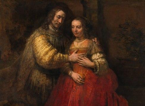 Rembrandt, Portrait d'un couple en Isaac et Rebecca, connu sous le titre La Fiancée juive (détail), vers 1662 © Rijksmuseum Amsterdam, inv. no. SK-C-216
