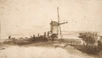 Rembrandt Harmensz. van Rijn (Leiden 1606 – 1669 Amsterdam), Le moulin « De Bok » sur le bastion « Het Blauwhoofd », Plume et encre brune © Fondation Custodia, Collection Frits Lugt, Paris