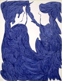 Laure Pigeon, encre bleue sur papier. Collection de l'art brut.