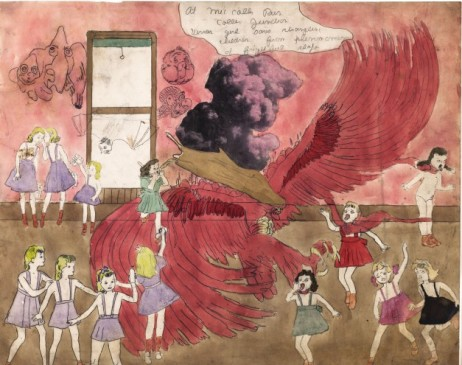 Henry Darger, At McCalls Run Coller Junction Vivian girl saves strangling children from phenomenon of frightful shape, 1910-1970, Paris, musée d'Art moderne © Eric Emo / Musée d'Art Moderne / Roger-Viollet