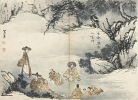 Scène de genre (détail), Shin Yun-Bok © Musée Guimet, Paris, Dist. RMN-Grand Palais / Jean-Yves et Nicolas Dubois
